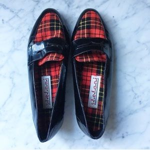 Vintage 80s Plaid and Patent Leather Loafers
